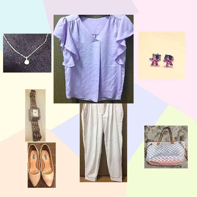 「シンプル、オフィス」に関するGUのシャツ/ブラウス、ROPE' PICNICのパンツ等を使ったコーデ画像