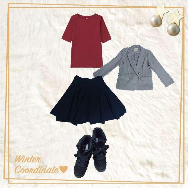 「ガーリー・フェミニン」に関するUNIQLOのTシャツ/カットソー、31 sons de modeのフレアスカート等を使ったコーデ画像