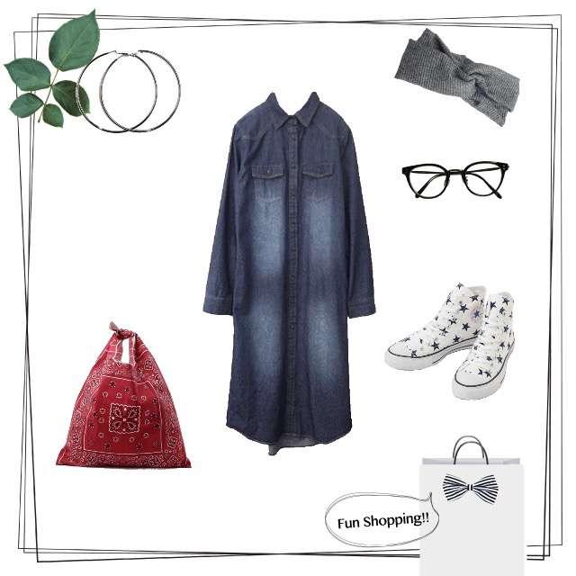 「カジュアル、休日、ママコーデ」に関するbit blueのマキシ丈ワンピ、CONVERSEのスニーカー等を使ったコーデ画像