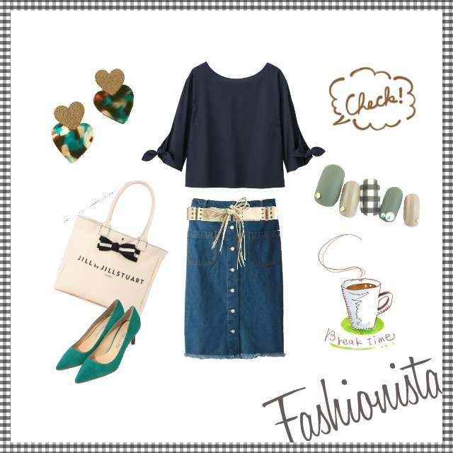 「ガーリー・フェミニン」に関するGUのシャツ/ブラウス、デニムスカート等を使ったコーデ画像