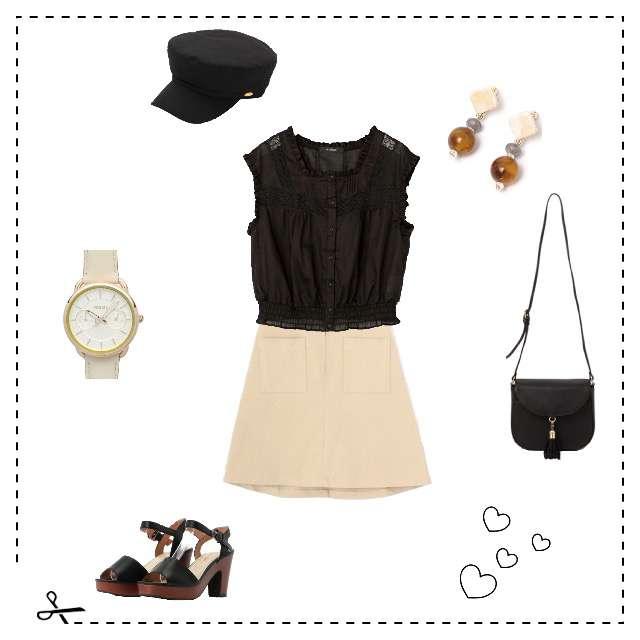 w closetのシャツ/ブラウス、mysiticのひざ丈スカート等を使ったコーデ画像