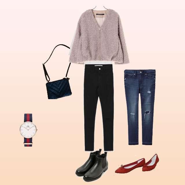ニット/セーター、H&Mのデニムパンツ等を使ったコーデ画像