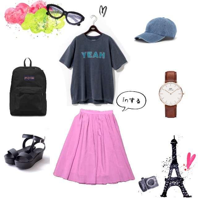 UNITED ARROWSのTシャツ/カットソー、ROPE' PICNICのミモレ丈スカート等を使ったコーデ画像