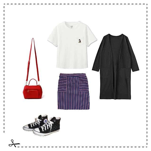 UNIQLOのTシャツ/カットソー、タイトスカート等を使ったコーデ画像
