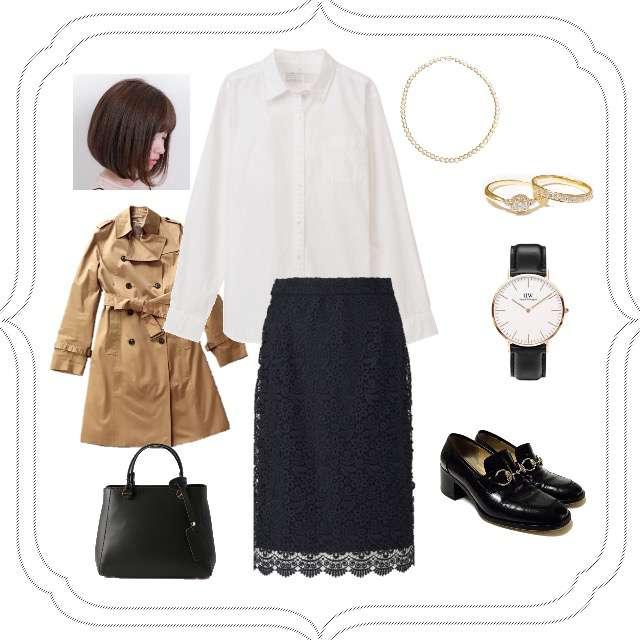 「シンプル、オフィス、キレイめ、骨格診断ストレート」に関するMUJIのシャツ/ブラウス、UNIQLOのタイトスカート等を使ったコーデ画像