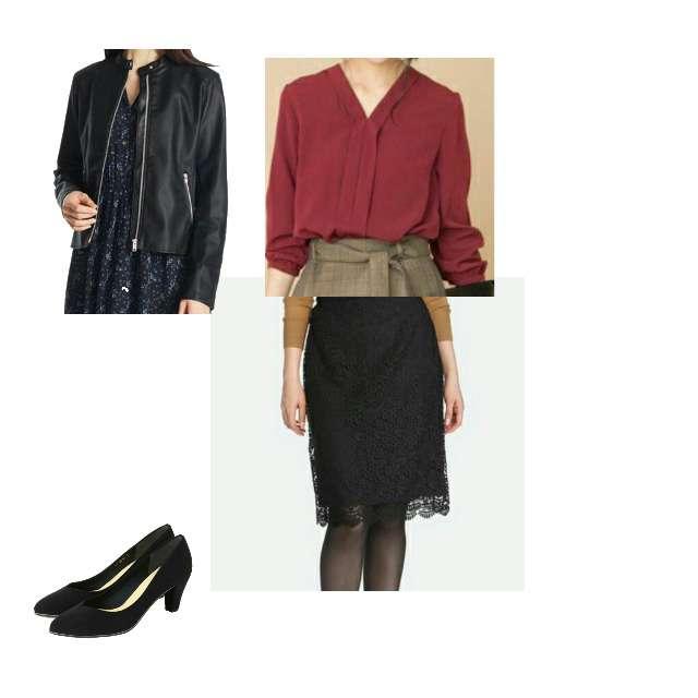 TIENS ecouteのシャツ/ブラウス、UNIQLOのタイトスカート等を使ったコーデ画像