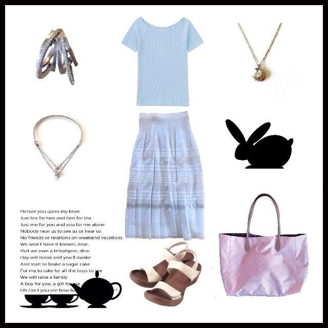 「シンプル、お稽古」に関するUNIQLOのTシャツ/カットソー、MONO COMME CAのスカート等を使ったコーデ画像