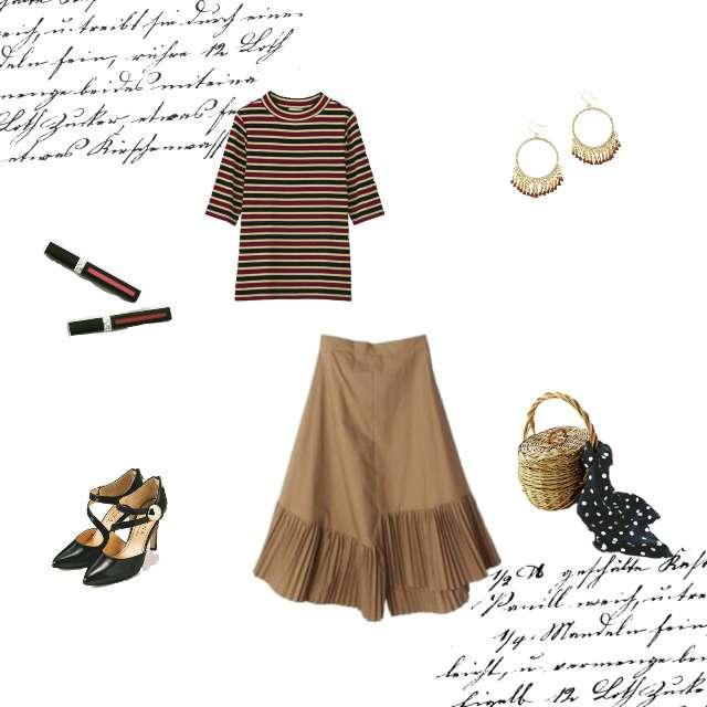 「ガーリー・フェミニン、デート、ボーダーT、ヘムスカート」に関するGUのTシャツ/カットソー、DIANAのパンプス等を使ったコーデ画像