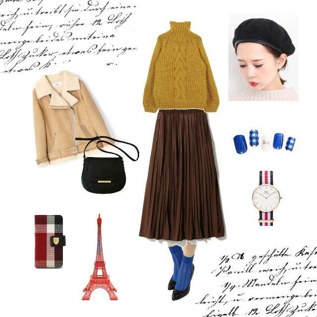 ニット/セーター、GRLのプリーツスカート等を使ったコーデ画像