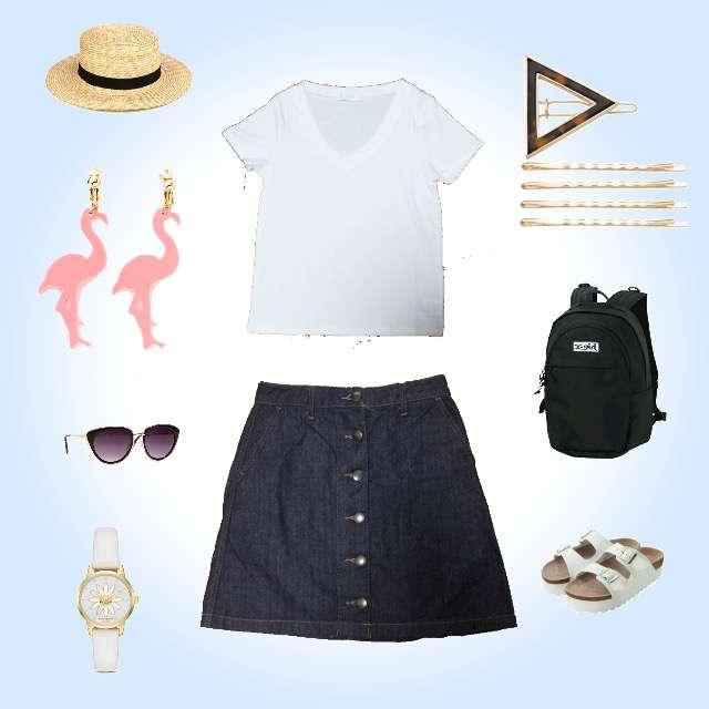 「シンプル、海、一眼レフ」に関するCECIL McBEEのTシャツ/カットソー、LOWRYS FARMのミニスカート等を使ったコーデ画像