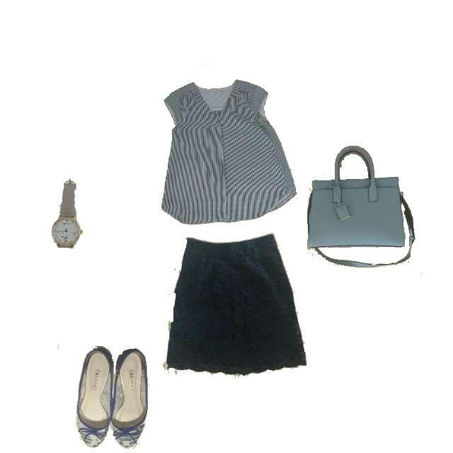 「シンプル」に関するJewel Changesのシャツ/ブラウス、Jewel Changesのひざ丈スカート等を使ったコーデ画像