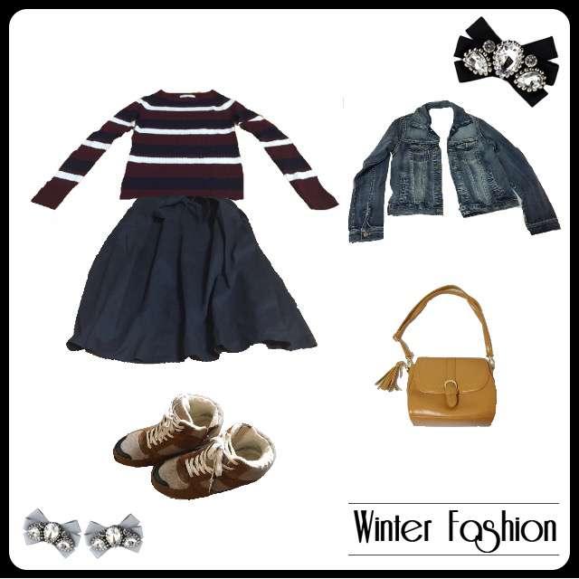 ニット/セーター、GUのミモレ丈スカート等を使ったコーデ画像
