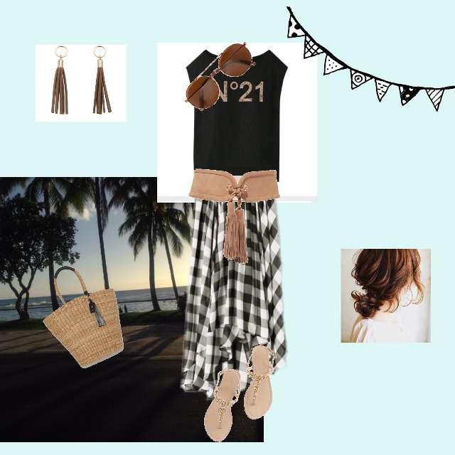 「ガーリー・フェミニン、おでかけ、デート、リゾート」に関するTシャツ/カットソー、JEANASISのミモレ丈スカート等を使ったコーデ画像