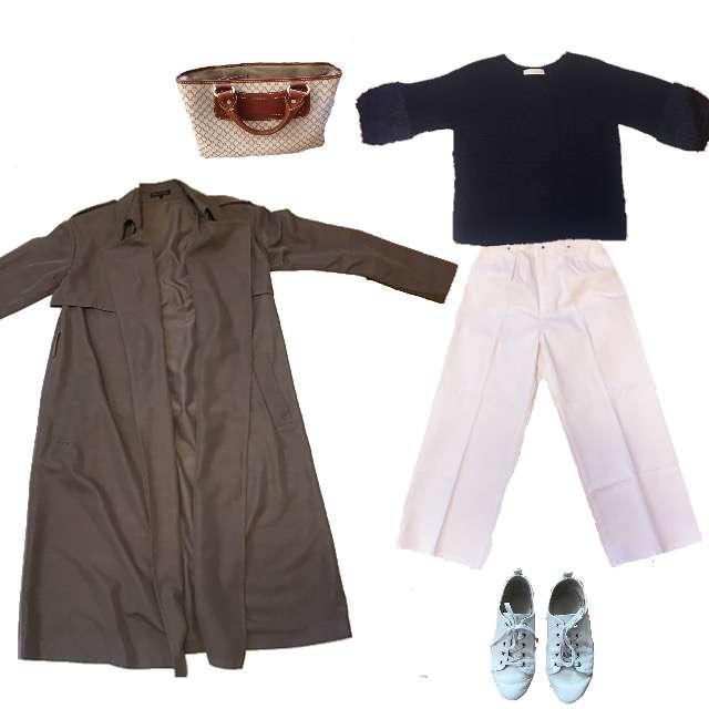 「コンサバ・エレガント、お散歩」に関するCOLLAGEのニット/セーター、COLLAGEのデニムパンツ等を使ったコーデ画像