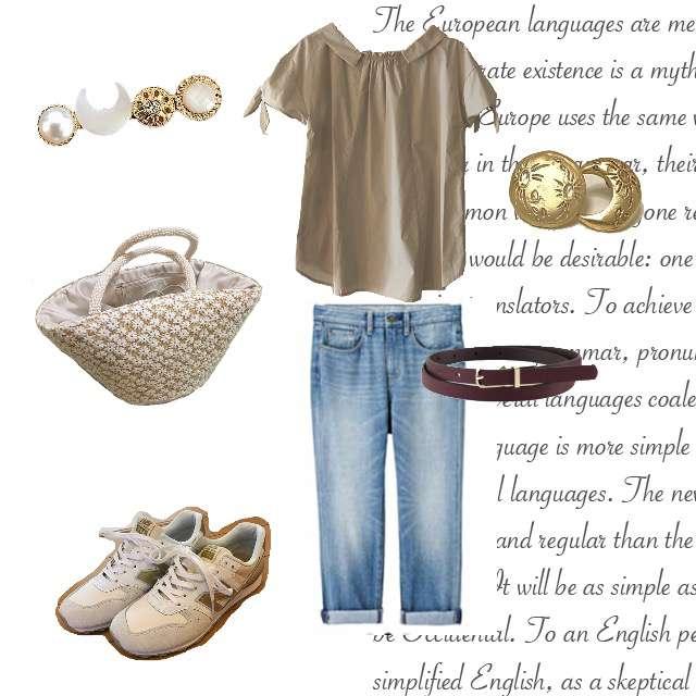 Couture broochのシャツ/ブラウス、GUのデニムパンツ等を使ったコーデ画像
