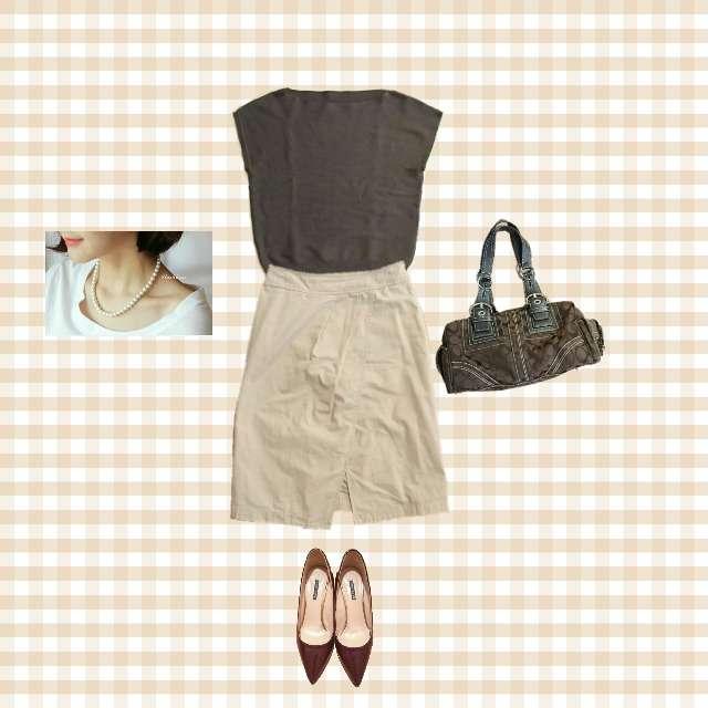 apart by lowrysのニット/セーター、IENAのミモレ丈スカート等を使ったコーデ画像