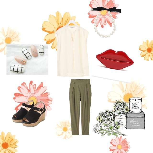 「シンプル、美容院」に関するAMERICAN HOLICのTシャツ/カットソー、GUのテーパードパンツ等を使ったコーデ画像