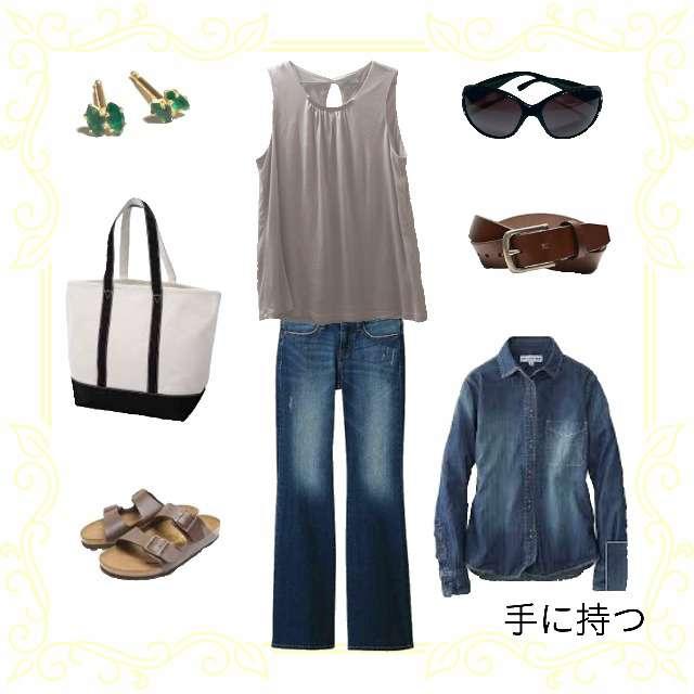 「夏」に関するUNIQLOのシャツ/ブラウス、H&Mのキャミソール/タンクトップ等を使ったコーデ画像