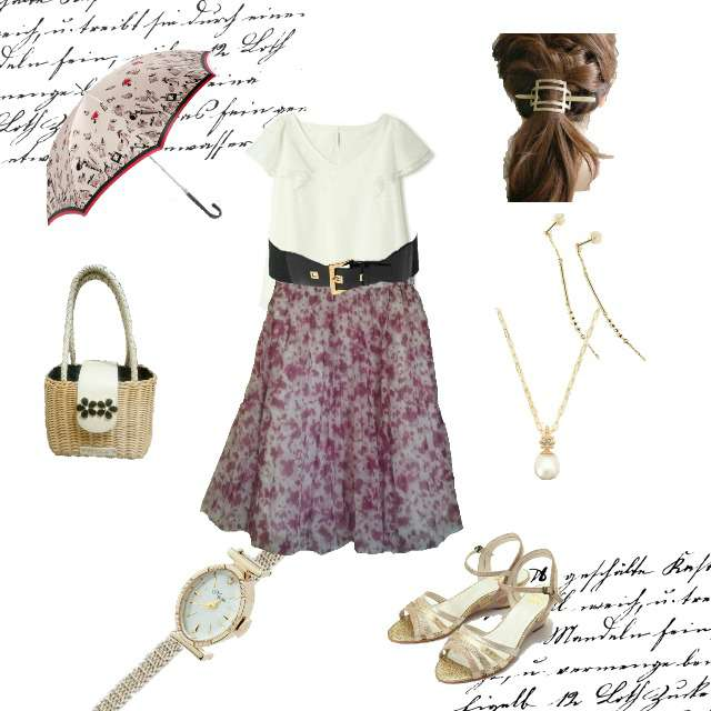「ガーリー・フェミニン、オフィス、送別会」に関するPROPORTION BODY DRESSINGのシャツ/ブラウス、PROPORTION BODY DRESSINGのプリーツスカート等を使ったコーデ画像