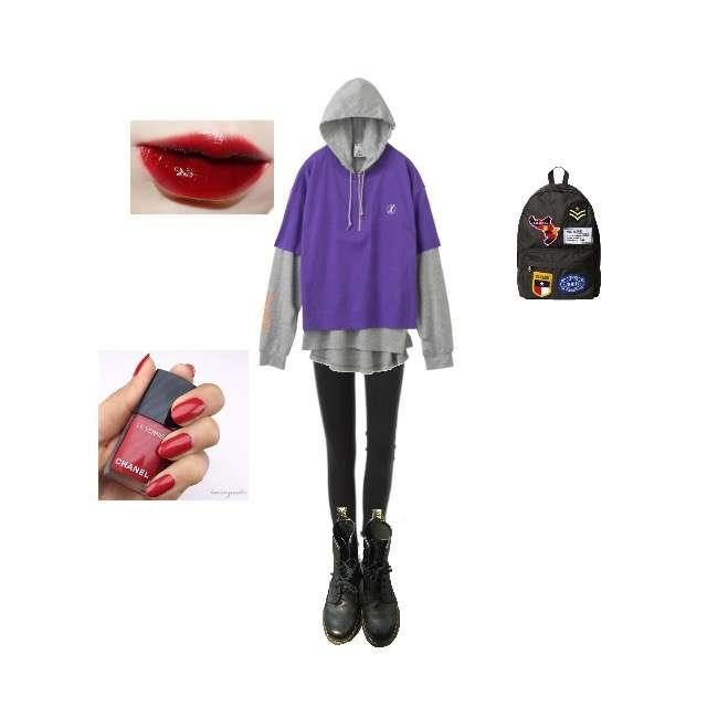 「ストリート、お散歩、stussy、beams、Dr.Martens、chanel、赤リップ、かっこいい」に関するX-girlのパーカー/スウェット、スキニーパンツ等を使ったコーデ画像