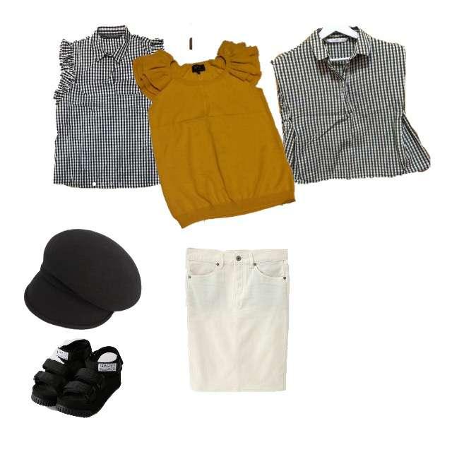 agnes b.のTシャツ/カットソー、ZARAのシャツ/ブラウス等を使ったコーデ画像