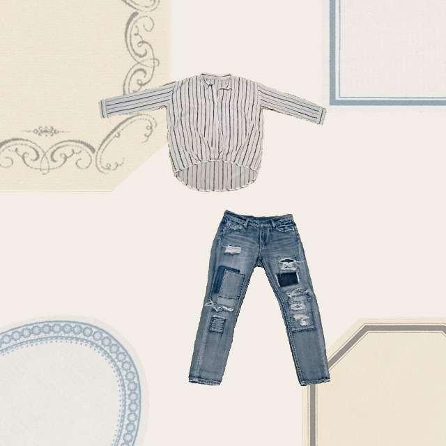 「キレカジ」に関するColorのシャツ/ブラウス、OZOCのデニムパンツ等を使ったコーデ画像