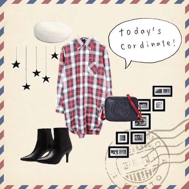 「カジュアル、おでかけ、シャツワンピ、チェック」に関するVINTAGEのシャツワンピ、CLANEのブーツ等を使ったコーデ画像