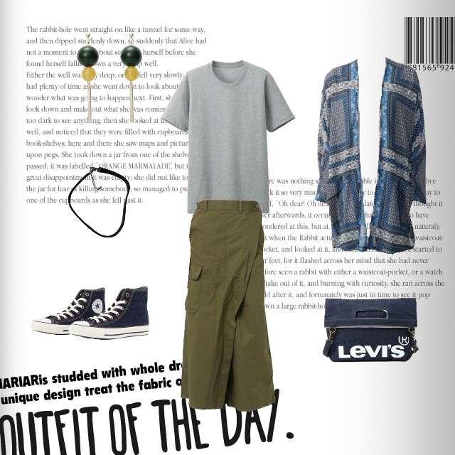 「カジュアル、おでかけ、ママコーデ」に関するUNIQLOのTシャツ/カットソー、AZUL by moussyのカーディガン等を使ったコーデ画像