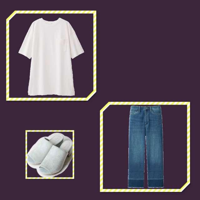 「シンプル、学校」に関するGUのTシャツ/カットソー、UNIQLOのクロップドパンツ等を使ったコーデ画像
