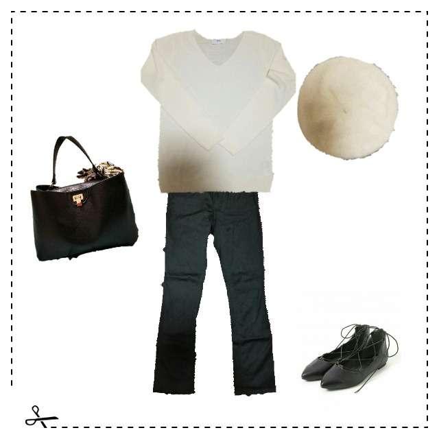 「シンプル、休日」に関するAZUL by moussyのニット/セーター、デニムパンツ等を使ったコーデ画像