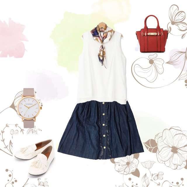 Tシャツ/カットソー、ひざ丈スカート等を使ったコーデ画像