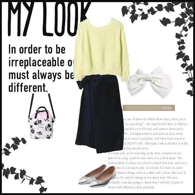 「シンプル、女子会」に関するSpick and Spanのニット/セーター、Availのミモレ丈スカート等を使ったコーデ画像