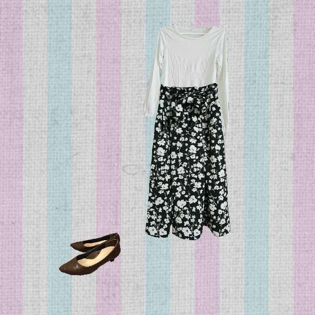 「ガーリー・フェミニン、休日」に関するHONEYSのTシャツ/カットソー、GUのマキシ丈スカート等を使ったコーデ画像
