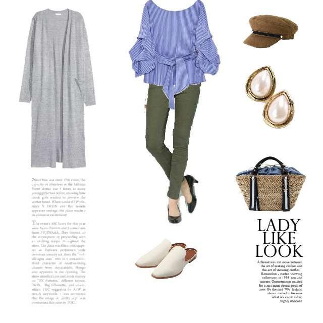 「シンプル、休日、お出かけ、ママコーデ、gu、バブーシュ」に関するZARAのシャツ/ブラウス、H&Mのカーディガン等を使ったコーデ画像