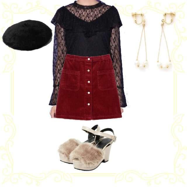 「ガーリー・フェミニン、デート、大人、大人可愛い、シースルー」に関するHeatherのTシャツ/カットソー、GRLのタイトスカート等を使ったコーデ画像