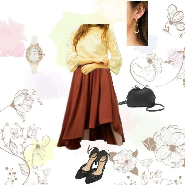 MIIAのシャツ/ブラウス、INGNIのマキシ丈スカート等を使ったコーデ画像