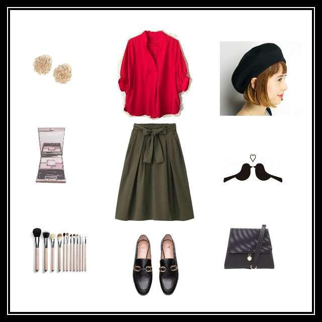 「ガーリー・フェミニン、おでかけ」に関するしまむらのTシャツ/カットソー、GUのスカート等を使ったコーデ画像