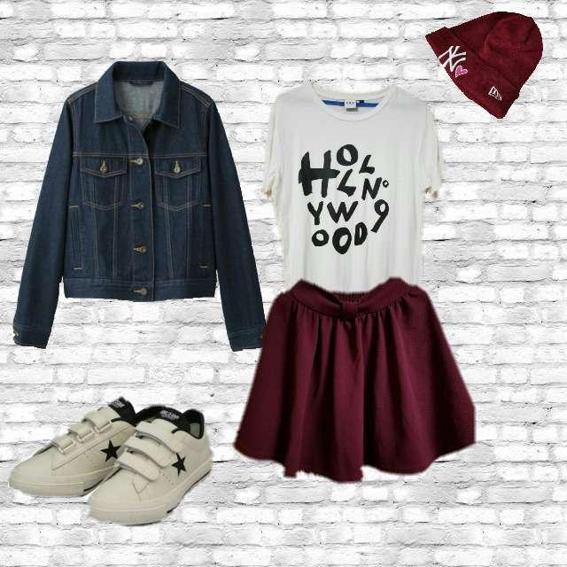 「秋、旅行」に関するHOLLYWOOD MADEのTシャツ/カットソー、ひざ丈スカート等を使ったコーデ画像