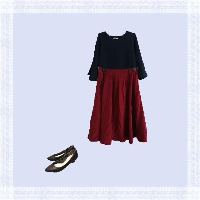 「コンサバ・エレガント、オフィス」に関するHONEYSのTシャツ/カットソー、HONEYSのひざ丈スカート等を使ったコーデ画像