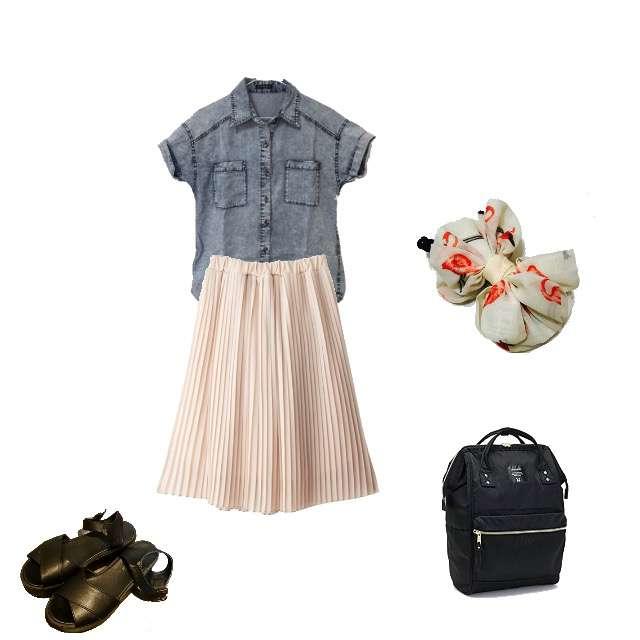「ガーリー・フェミニン、学校、プリーツスカート」に関するINGNIのシャツ/ブラウス、anelloのリュック等を使ったコーデ画像
