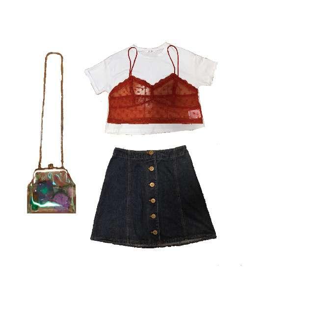 RETRO GIRLのTシャツ/カットソー、w closetのビスチェ等を使ったコーデ画像
