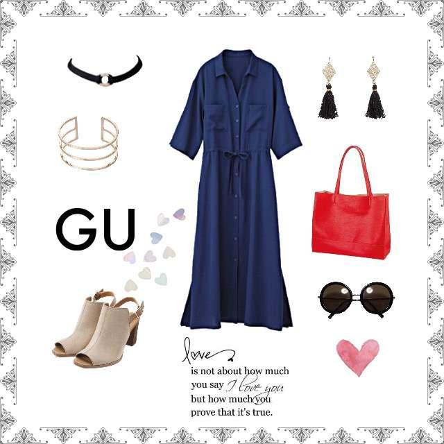 「ガーリー・フェミニン、おでかけ、着回し」に関するGUのシャツワンピ、GUのサンダル等を使ったコーデ画像
