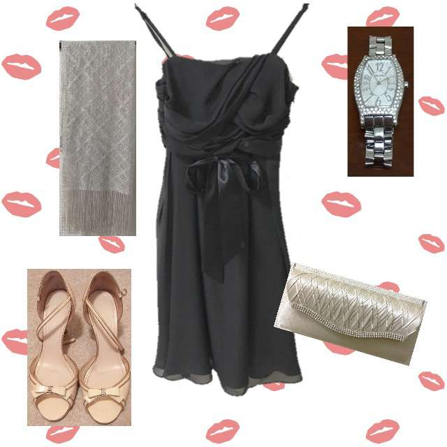 「シンプル、パーティー」に関するドレスワンピ、REBECCA TAYLORのドレスシューズ/ミュール等を使ったコーデ画像