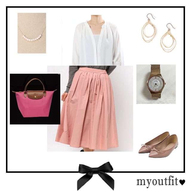 「コンサバ・エレガント、オフィス」に関するNobleのシャツ/ブラウス、ROPE' mademoiselleのミモレ丈スカート等を使ったコーデ画像