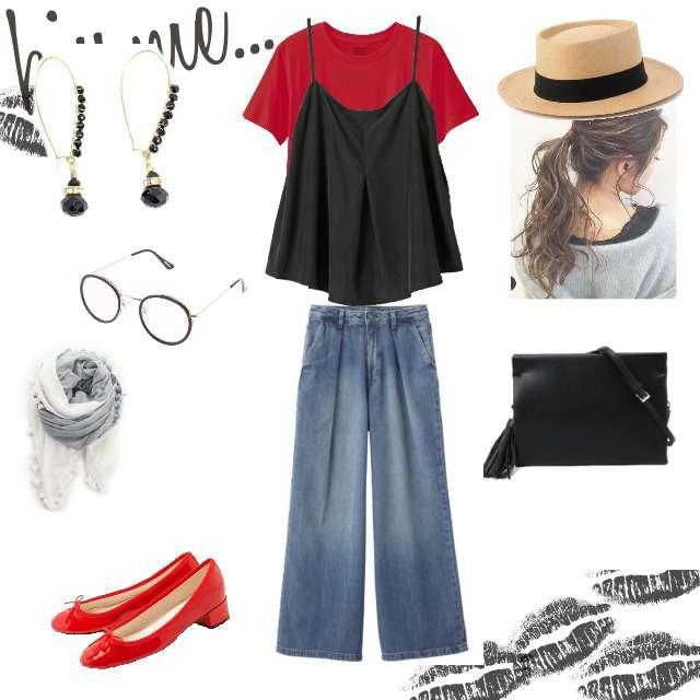 「コンサバ・エレガント、カフェ、カジュアル、おでかけ、着回し、夏」に関するGUのTシャツ/カットソー、JEANASISのキャミソール/タンクトップ等を使ったコーデ画像