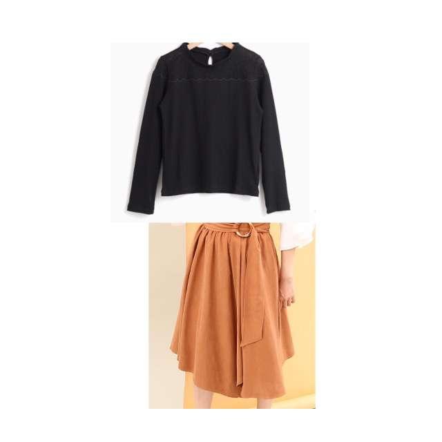 MAJESTIC LEGONのTシャツ/カットソー、ViSのミモレ丈スカート等を使ったコーデ画像