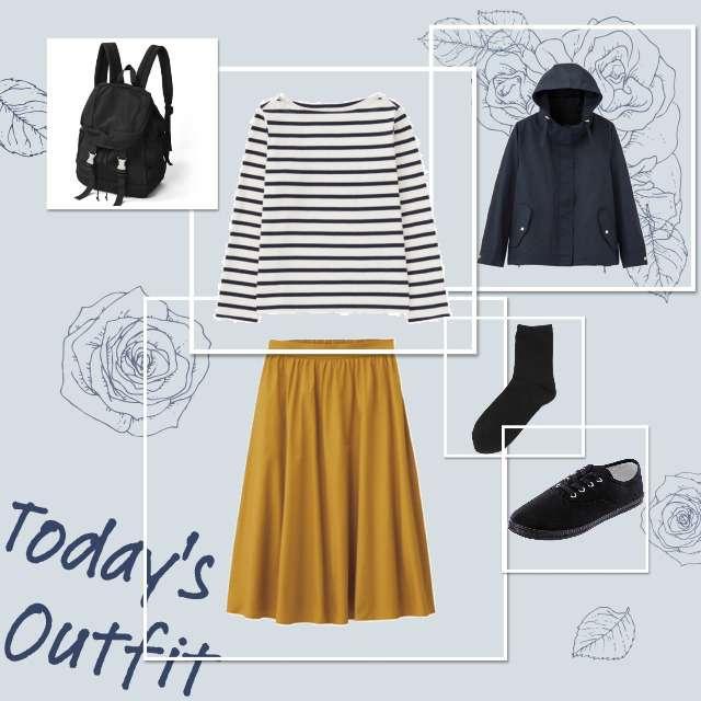 「ナチュラル・リラックス、学校」に関するUNIQLOのTシャツ/カットソー、GUのひざ丈スカート等を使ったコーデ画像
