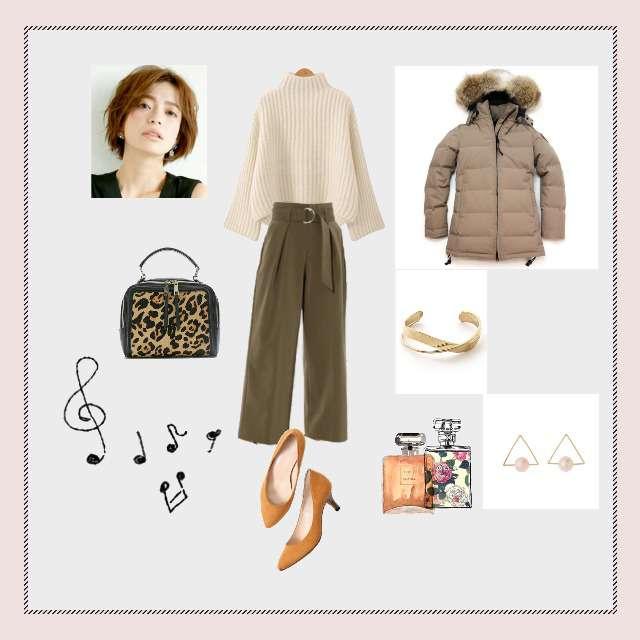 「シンプル、おでかけ」に関するニット/セーター、タックパンツ等を使ったコーデ画像