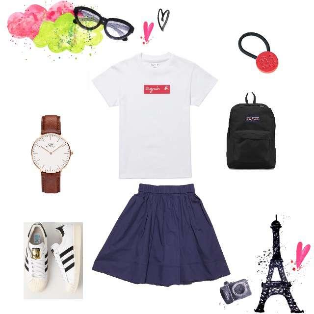 agnes b.のTシャツ/カットソー、JILLSTUARTのひざ丈スカート等を使ったコーデ画像