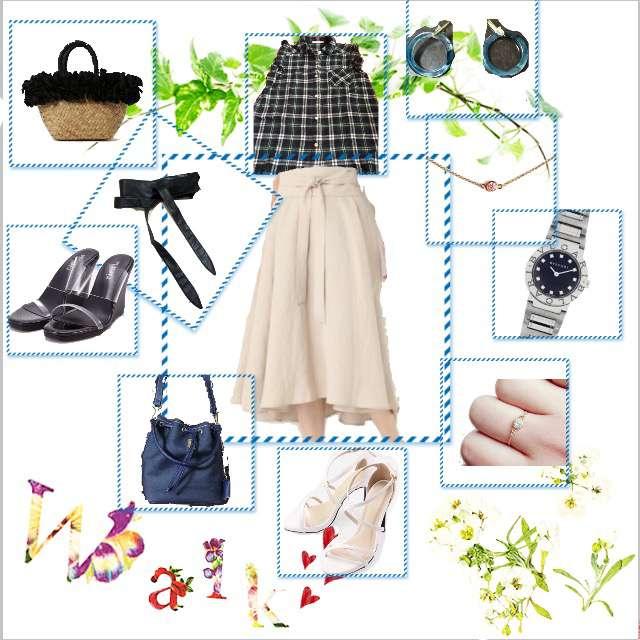 「カジュアル、オフィス」に関するapart by lowrysのひざ丈スカート、LIP SERVICEのサンダル等を使ったコーデ画像